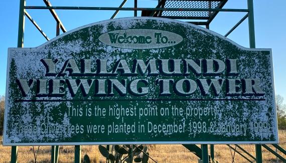 yallamundi viewing tower sign